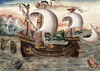 Galleon Sails To Portugal, 16th Century Poster