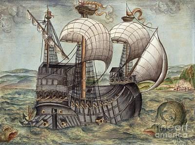 Galleon Sails To Venezuela, 16th Century Poster
