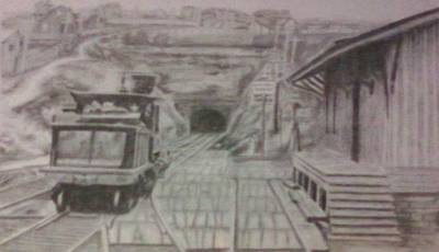Poster featuring the drawing Gallitzin Tunnel by Thomasina Durkay
