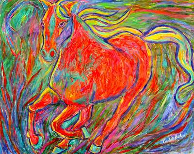 Galloping Red Poster by Kendall Kessler