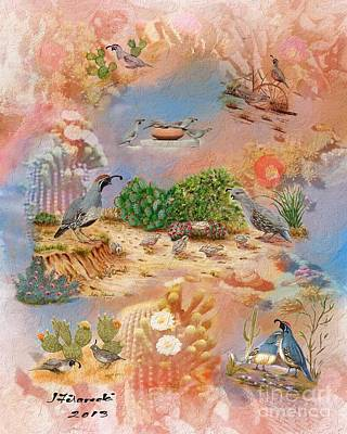 Gambel Quail Collage-southwest Art Poster by Judy Filarecki
