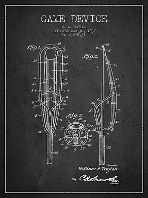 Game Device Patent From 1937- Charcoal Poster by Aged Pixel