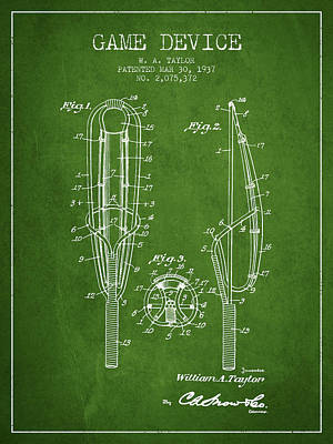 Game Device Patent From 1937- Green Poster by Aged Pixel