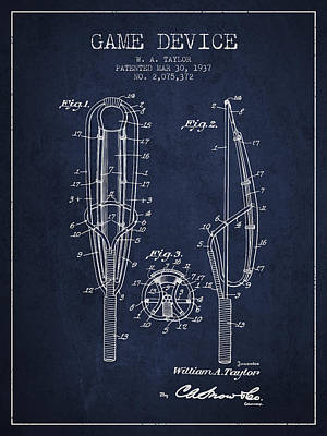 Game Device Patent From 1937- Navy Blue Poster by Aged Pixel