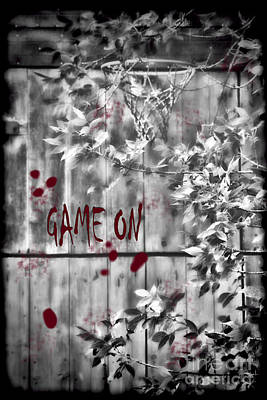 Game On Basketball Black And White Poster by Cathy  Beharriell