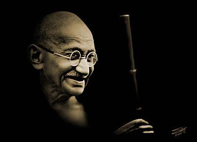 Gandhi Walking To The Sea Poster