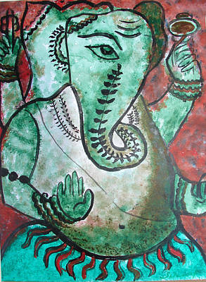 Poster featuring the painting Ganesh 10 by Anand Swaroop Manchiraju