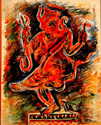 Poster featuring the painting Ganesh- 6 by Anand Swaroop Manchiraju
