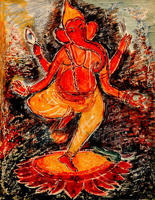 Poster featuring the painting Ganesh- 8 by Anand Swaroop Manchiraju