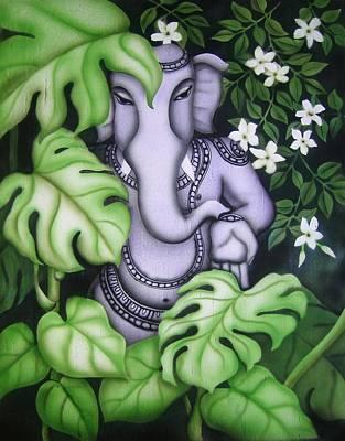 Ganesh With Jasmine Flowers Poster by Vishwajyoti Mohrhoff