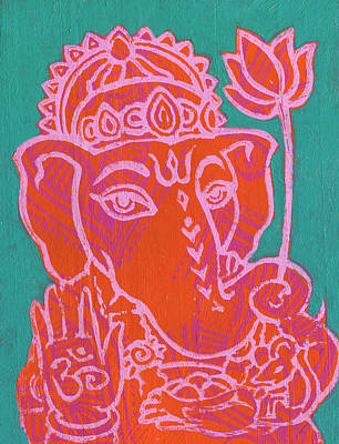 Ganesha Hot Pink Orange Teal Poster