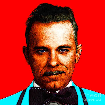 Gangman Style - John Dillinger 13225 - Red - Color Sketch Style Poster by Wingsdomain Art and Photography