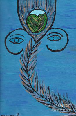 Ganpati Peacock Feather Poster
