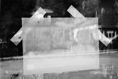 garage sale sign in a house window Saskatchewan Canada Poster by Joe Fox