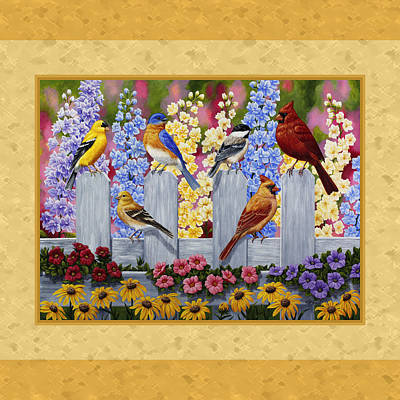 Garden Birds Duvet Cover Yellow Poster by Crista Forest