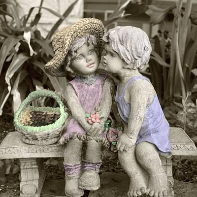 Poster featuring the digital art Garden Children by Ellen O'Reilly