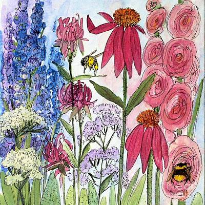 Garden Flower And Bees Poster by Laurie Rohner