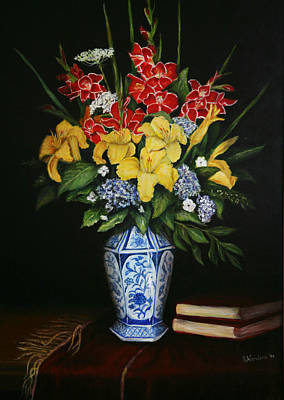 Poster featuring the painting Garden Flowers  by Sandra Nardone