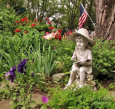 Garden Girl Statue Poster