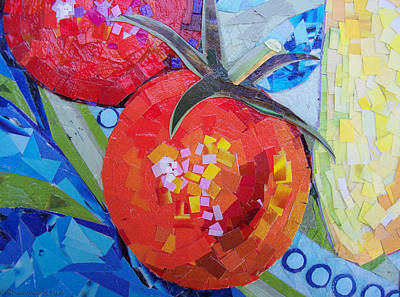 Poster featuring the mixed media Garden Harvest Collage Detail by Shawna Rowe