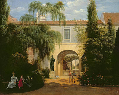 Garden In A Courtyard Oil On Canvas Poster by Etienne Bouhot