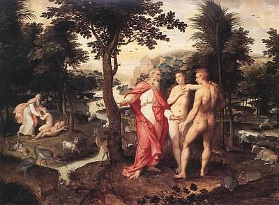 Poster featuring the painting Garden Of Eden - Jacob De Backer - C. 1575 by Jacob de Backer