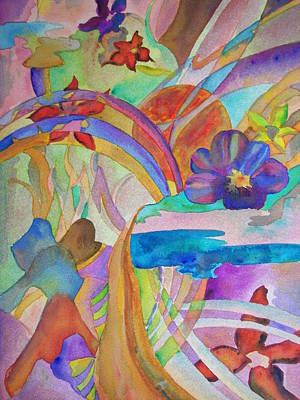 Poster featuring the painting Garden Path by Judy Via-Wolff