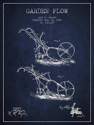 Garden Plow Patent From 1886 - Navy Blue Poster by Aged Pixel