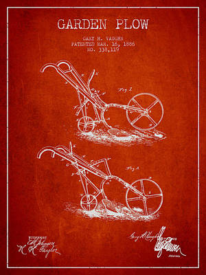 Garden Plow Patent From 1886 - Red Poster by Aged Pixel