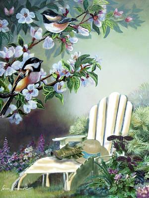 Chickadees In Blossom Tree Poster by Regina Femrite