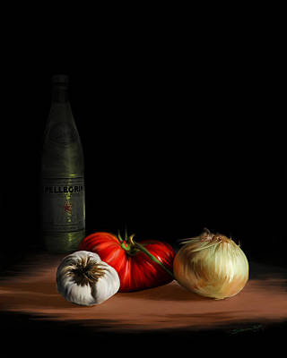 Garden Vegetables With Pellegrino Poster