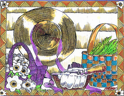 Poster featuring the drawing Gardener's Basket by Seth Weaver