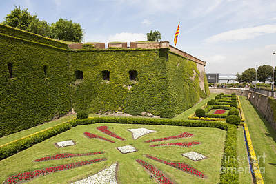 gardens around Montjuic Castle in Barcelona Poster