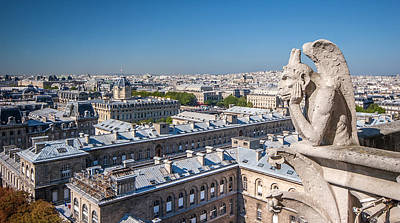 Gargoyle Overlooking Paris City From The Top Of Notre Dame Cathedral Poster