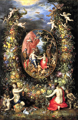 Garland Of Fruit And Flowers Poster by Jan Brueghel de Oude