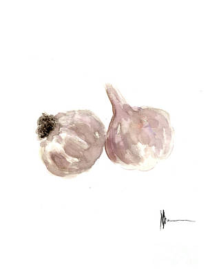 Garlic Watercolor Art Print Painting Poster by Joanna Szmerdt