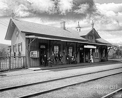 Garrison Train Station In Black And White Poster