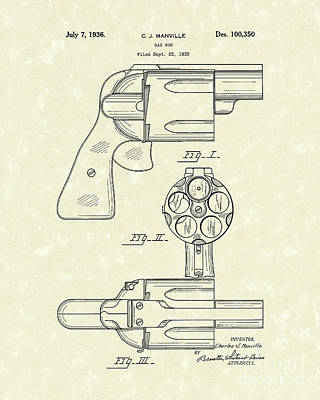 Gas Gun 1936 Patent Art Poster by Prior Art Design