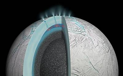 Gas Plumes On Enceladus Poster by Nasa/jpl-caltech