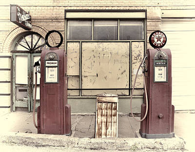 Gas Pumps Bisbee Arizona Poster by Robert Jensen