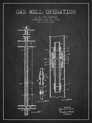 Gas Well Operation Patent From 1937 - Charcoal Poster
