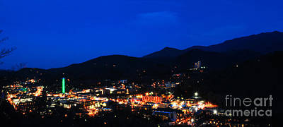 Gatlinburg Skyline At Night Poster by Nancy Mueller