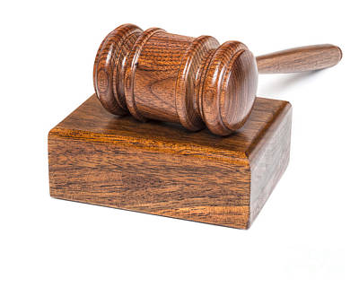 Gavel And Block On White Poster