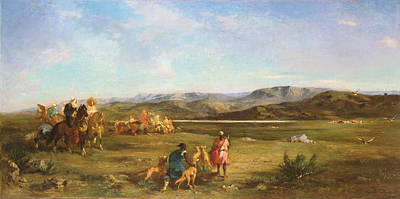 Gazelle Hunt In Chott El-hodna, 1856 Oil On Canvas Poster