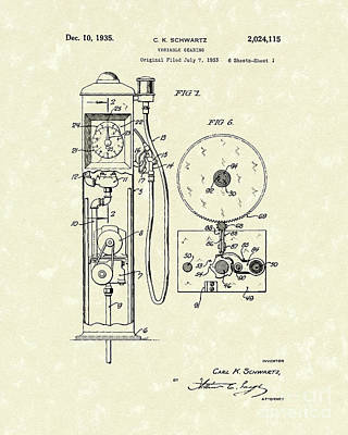 Gears 1935 Patent Art Poster