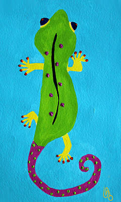 Poster featuring the painting Gecko Gecko by Deborah Boyd