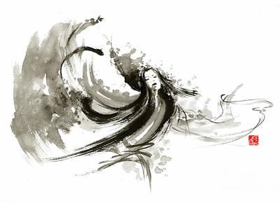 Geisha Dancer Dancing Girl Japanese Woman Original Painting Poster by Mariusz Szmerdt