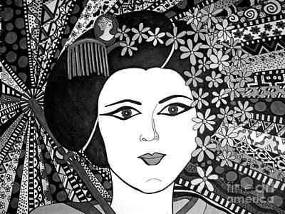 Geisha Girl Black Cream Poster