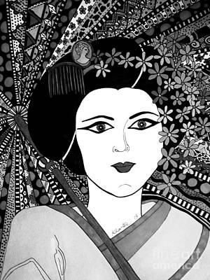 Geisha Girl Black Cream Portrait Poster