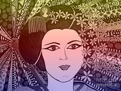 Geisha Girl Morning Dew Poster